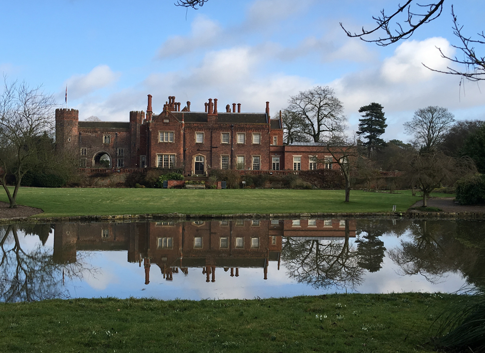 Hodsock Priory reflected in the lake