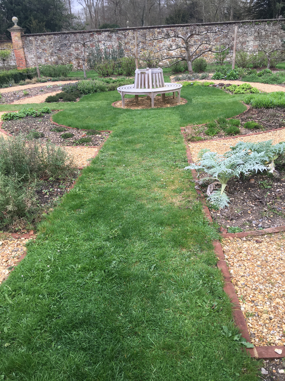 grass paths at chawton house herb garden